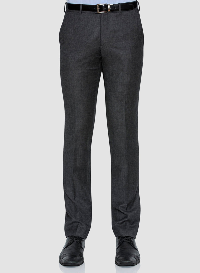A front view of the Cambridge classic fit interceptor trouser in grey pure wool FCC076