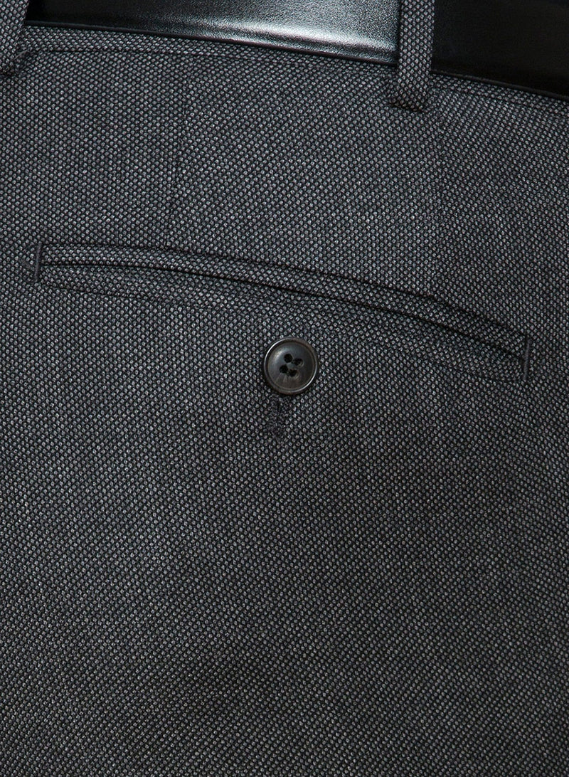 a close up view of the back hip pocket detail on the Cambridge classic fit interceptor trouser in grey pure wool FCC076
