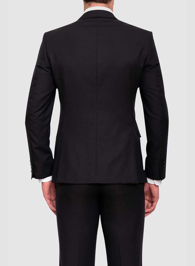 back view of the cambridge classic fit range suit in black pure wool F225