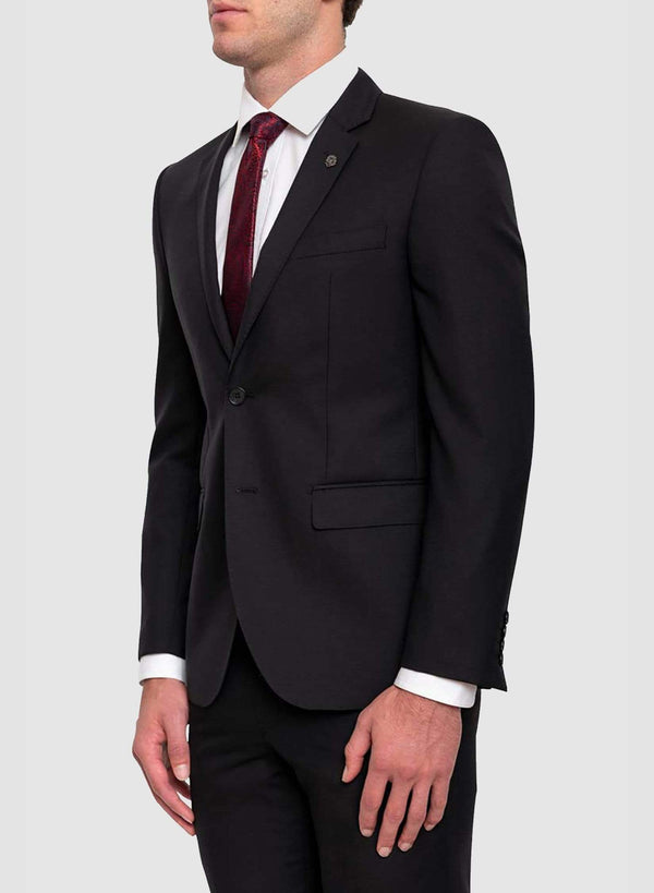 A side view of the cambridge classic fit range suit in black pure wool F225