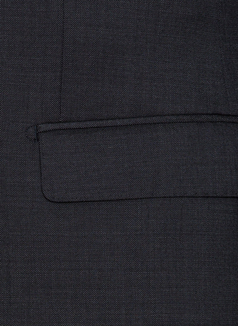 A close up view of the pocket detail on the Cambridge classic fit range suit jacket in charcoal pure wool F2800
