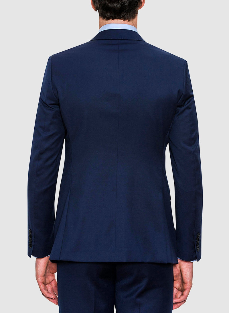 A back view of the cambridge classic fit range suit in navy pure wool FCZ027