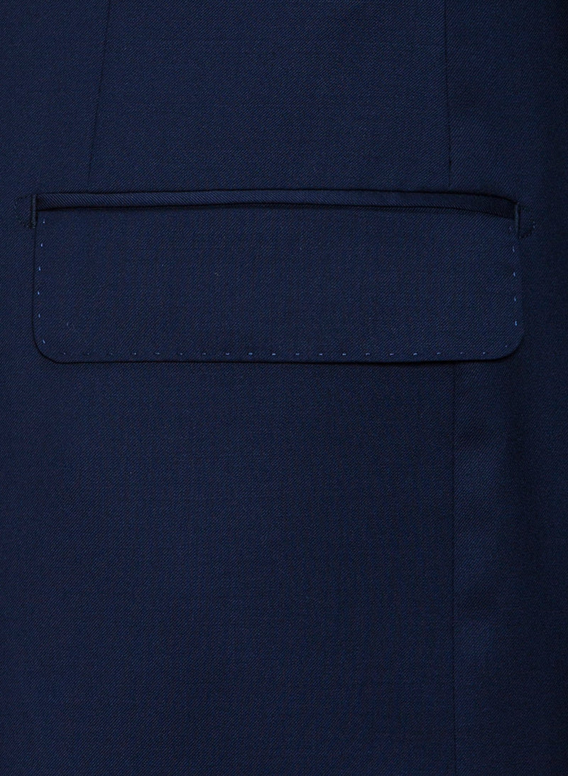 A close up of the jacket pocket detail on the Cambridge classic fit range suit in navy pure wool FCZ027