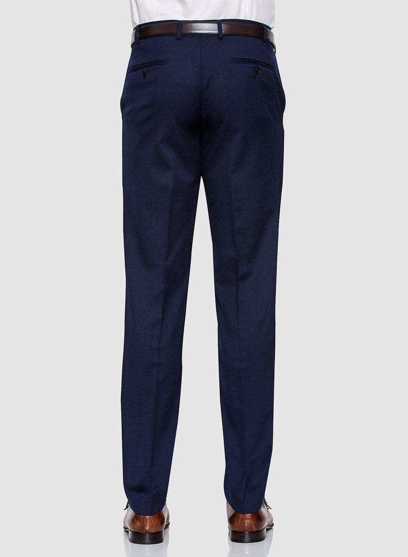 a back view of the Cambridge classic fit interceptor trouser in dark blue navy pure wool F2800