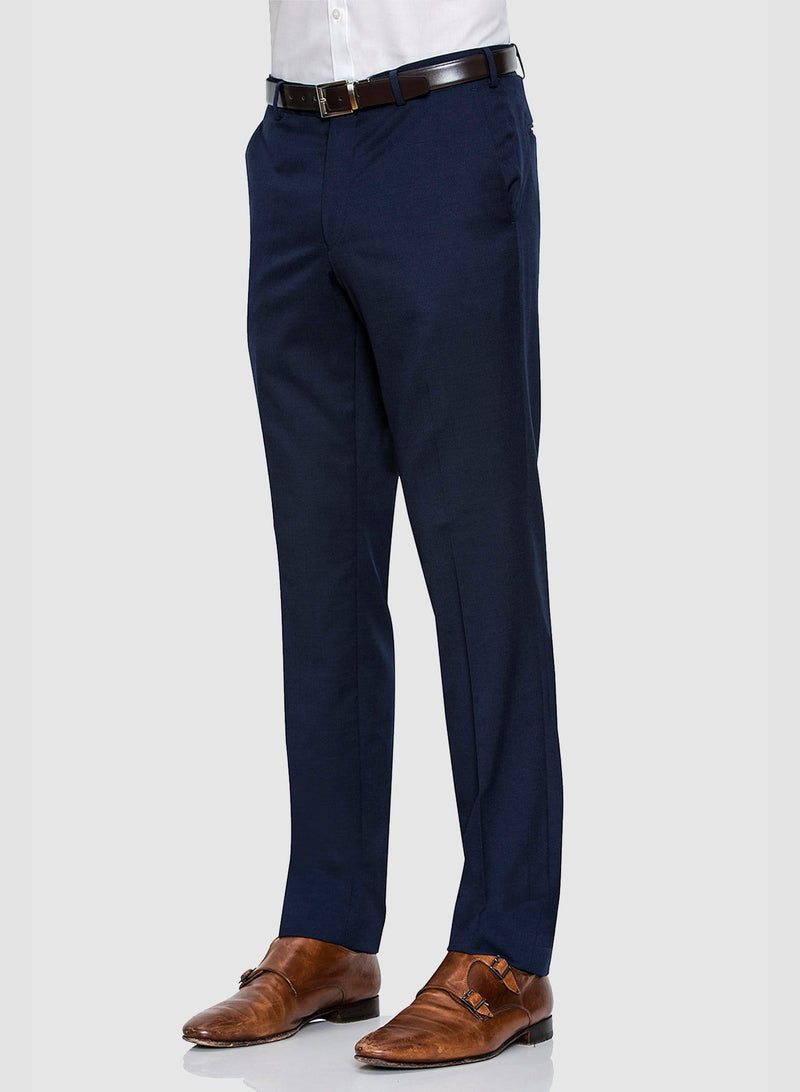 a side view of the Cambridge classic fit interceptor trouser in dark blue navy pure wool F2800
