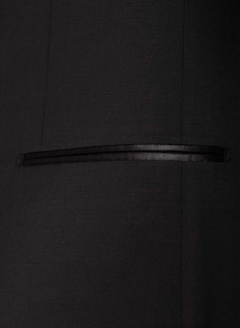 A close up view of the satin pocket detail of the the Cambridge classic fit sinatra evening suit in black pure wool F487