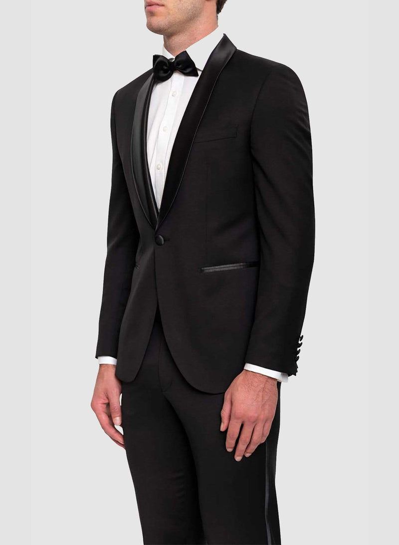 a side view of a model wearing the Cambridge classic fit sinatra evening suit in black pure wool F487