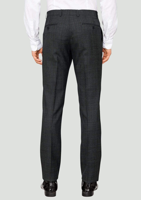 a back view of the elegan ted baker slim fit men's suit trousers in charcoal check 1RL2003