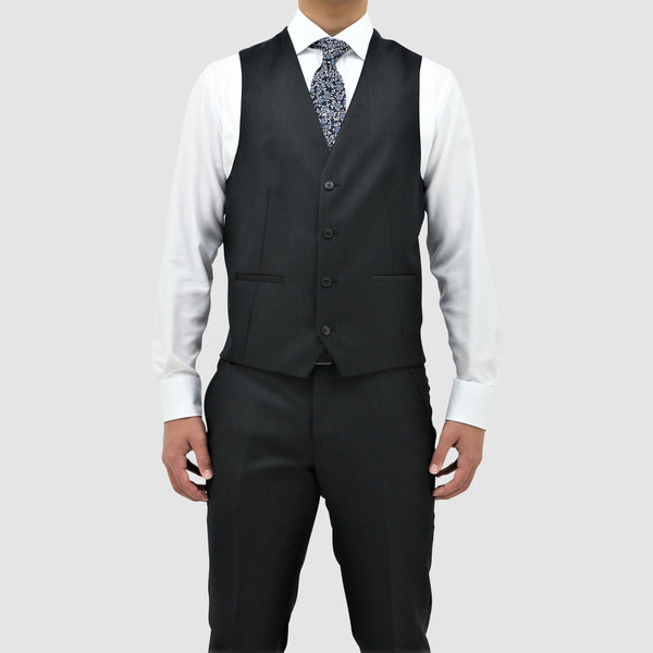 Daniel Hechter classic fit luke vest in black pure wool STDH101-01