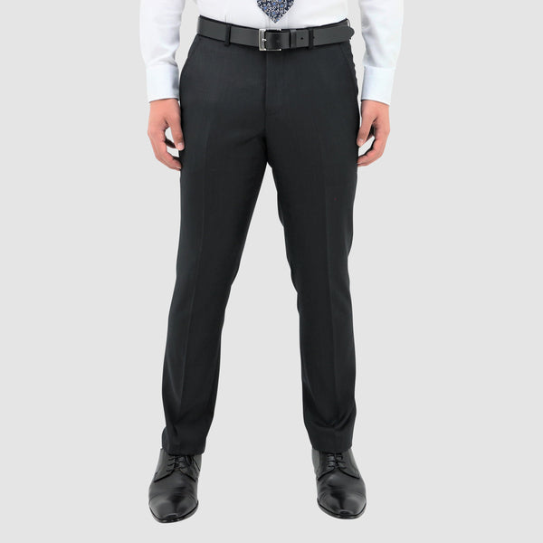 a front view of the daniel hechter classic fit lyon trouser in black pure wool STDH101-01