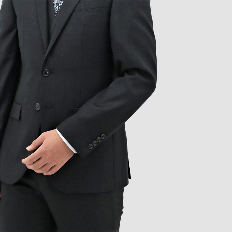 a close up of the fabric and sleeve detail on the daniel hechter classic fit michel suit in black pure wool STDH101-01