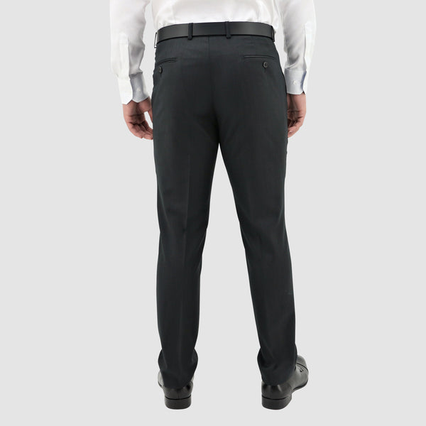 a back view of the daniel hechter classic fit lyon trouser in black pure wool STDH101-01