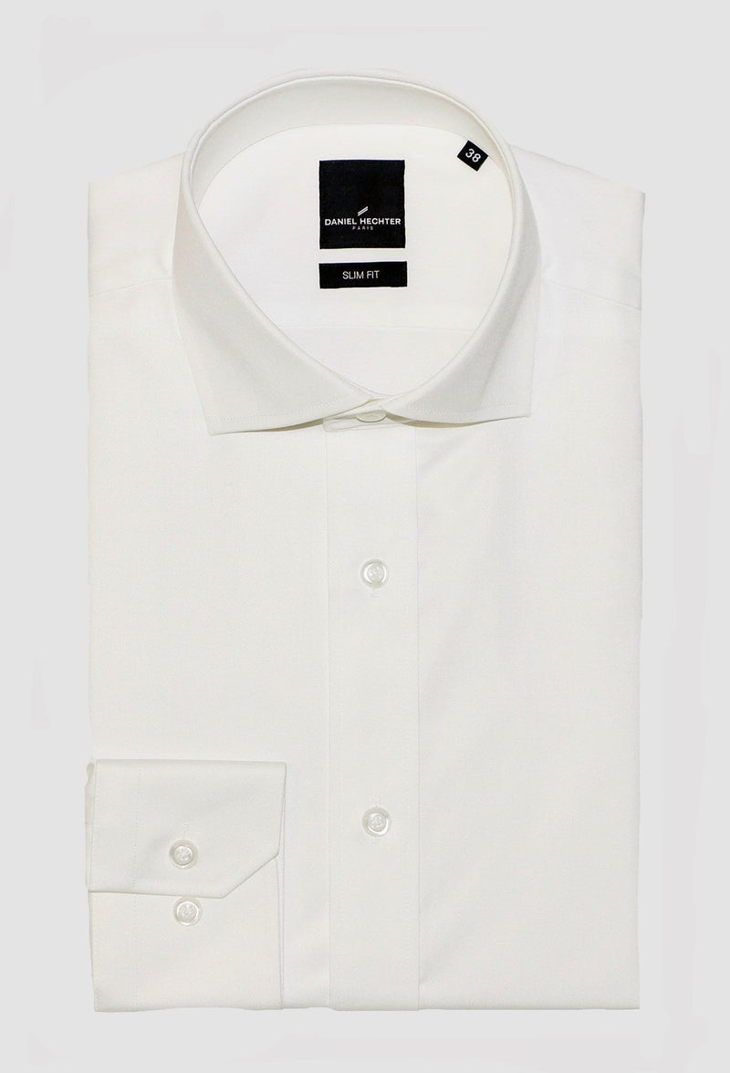 Daniel Hechter slim fit jacque business shirt in cream cotton blend 5wt-28