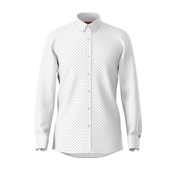 Hugo slim fit Elisha Dieselstrasse shirt in White pure cotton