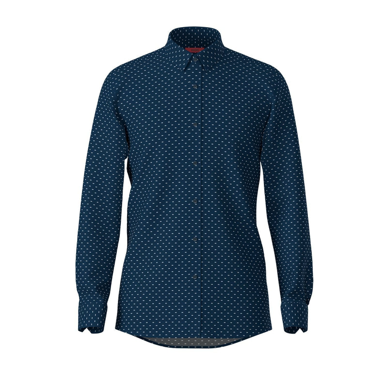 Hugo slim fit Elisha Dieselstrasse shirt in navy pure cotton