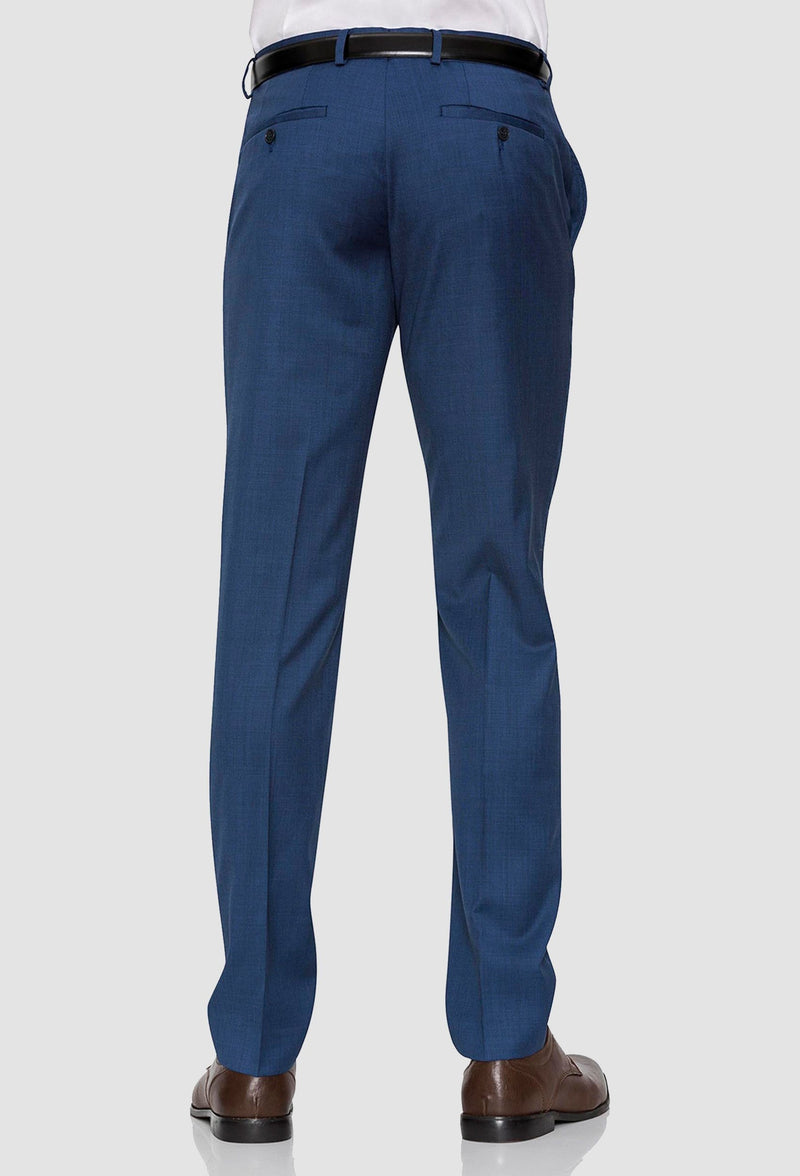a reverse view of the Gibson slim fit caper trouser in blue pure wool FGD019 including the rear hip pocket details