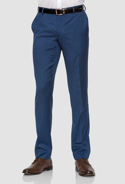 a front on view of the Gibson slim fit caper trouser in blue pure wool FGD019 styled with a brown leather shoe and white shirt