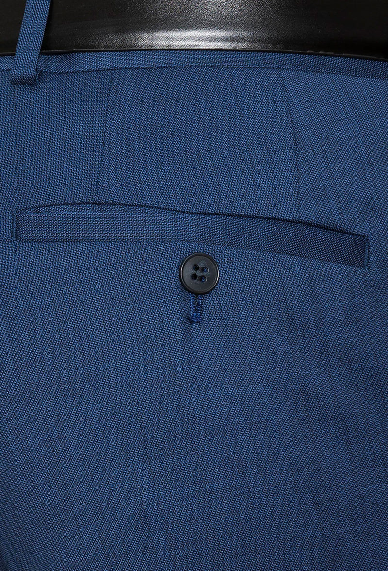 a close up view of the hip pockets on the Gibson slim fit caper trouser in blue pure wool FGD019