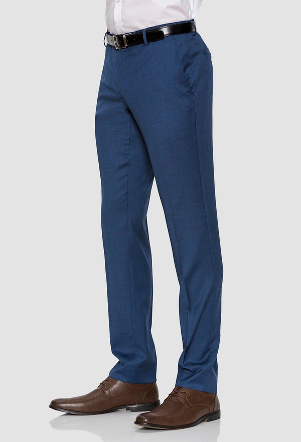 a side on view of the Gibson slim fit caper trouser in blue pure wool FGD019