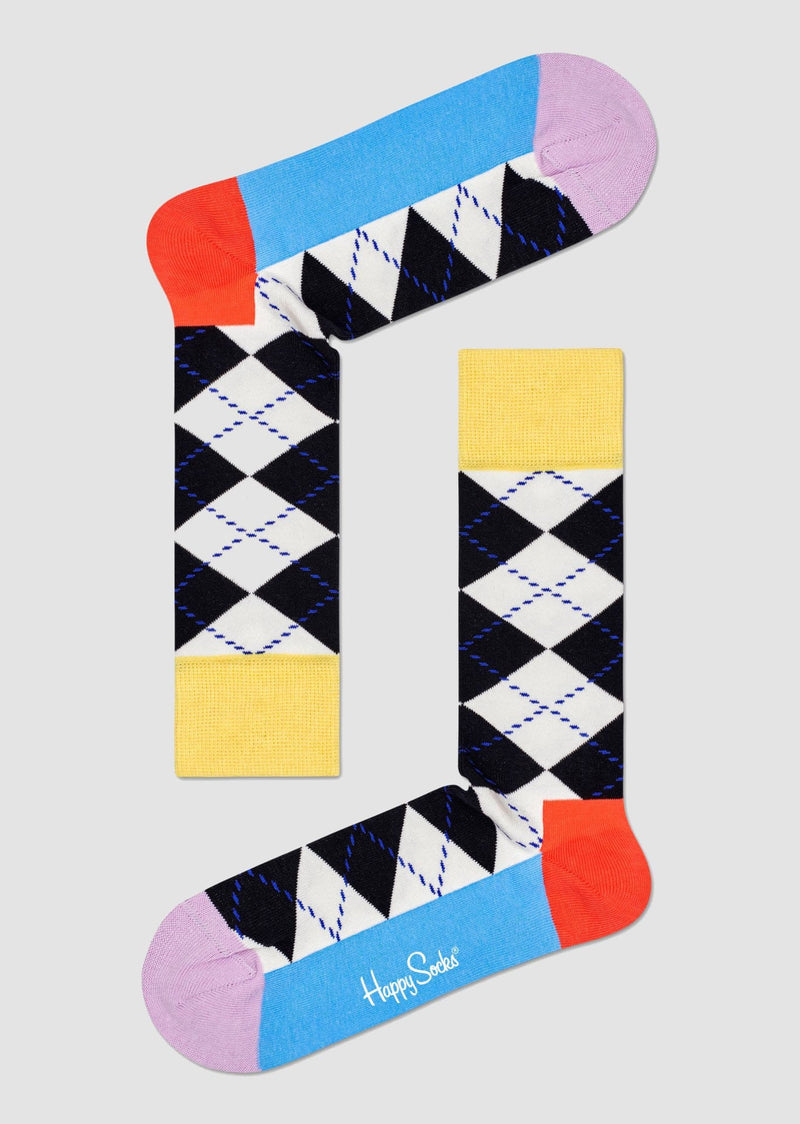 Happy Socks argyle sock in black and white combed cotton with yellow cuff ARY01-9100