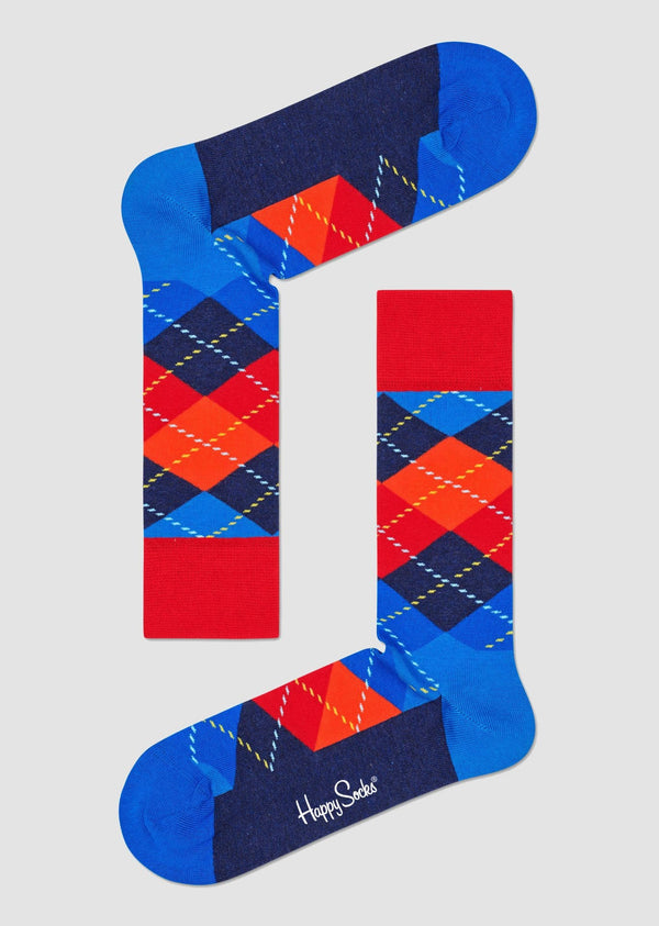 Happy Socks Argyle Sock in navy and red combed cotton