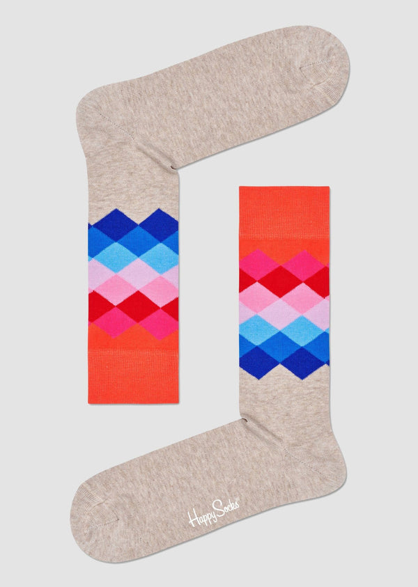 Happy Socks faded diamond sock in bright coloured combed cotton FAD01-0100