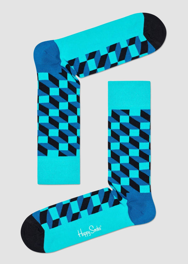 Happy Socks filled optic sock in bright blue coloured combed cotton FIO01-7301