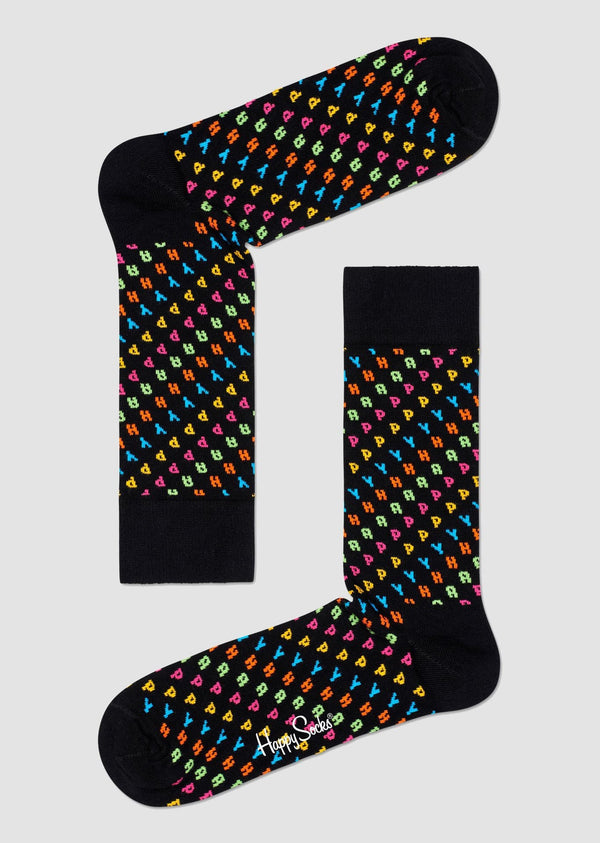 Happy Socks happy sock in black printed combed cotton HAP01-9300