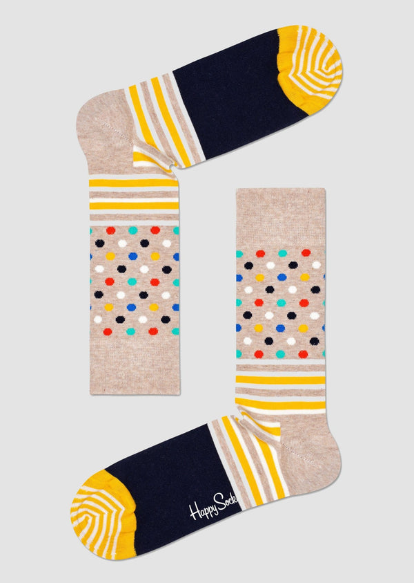 Happy Socks stripes and dots sock in beige and yellow combed cotton SDO01-3000