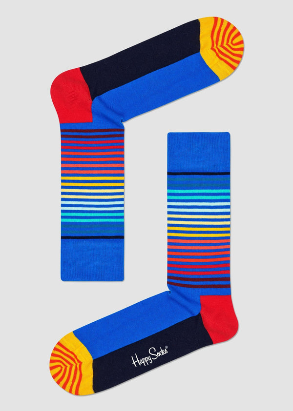 Happy Sockshalf striped sock in bright coloured combed cotton HAS01-6500