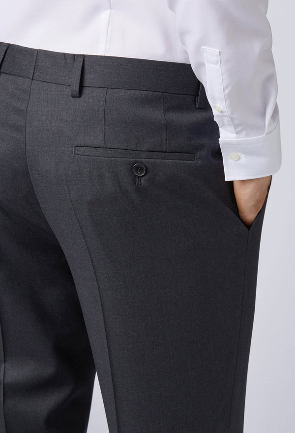 A close up view of the rear of the Hugo Boss classic fit johnstons suit trouser in dark grey