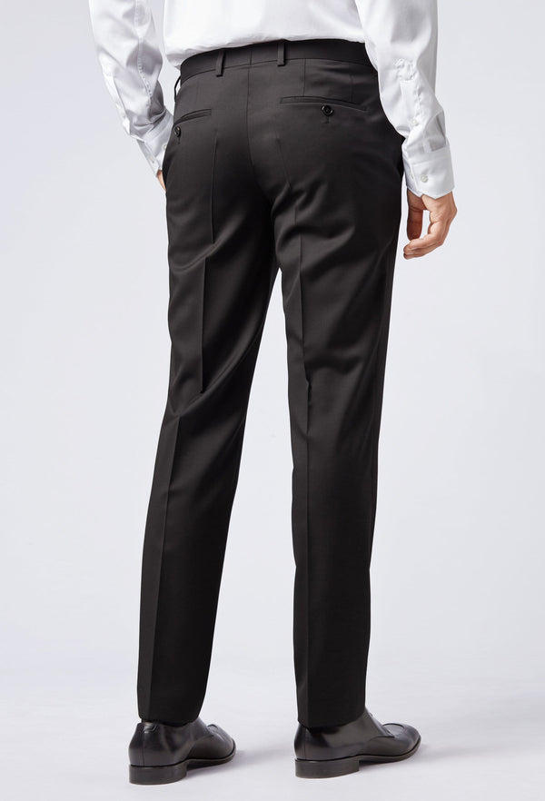 A reverse view of the Hugo Boss slim fit gibson trouser in black pure wool HB50318499-001