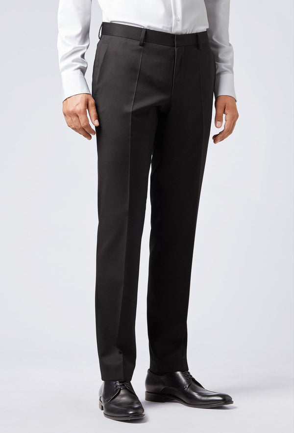 A front side on view of the Hugo Boss slim fit gibson trouser in black pure wool HB50318499-001