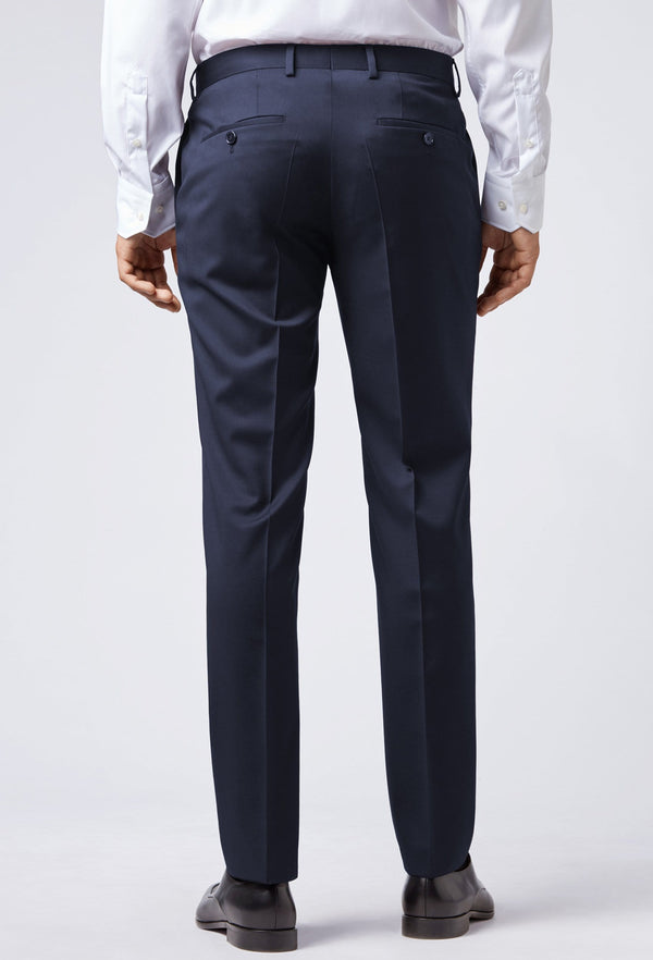 A reverse view of the Hugo Boss slim fit gibson trouser in dark blue pure wool HB50318499-401