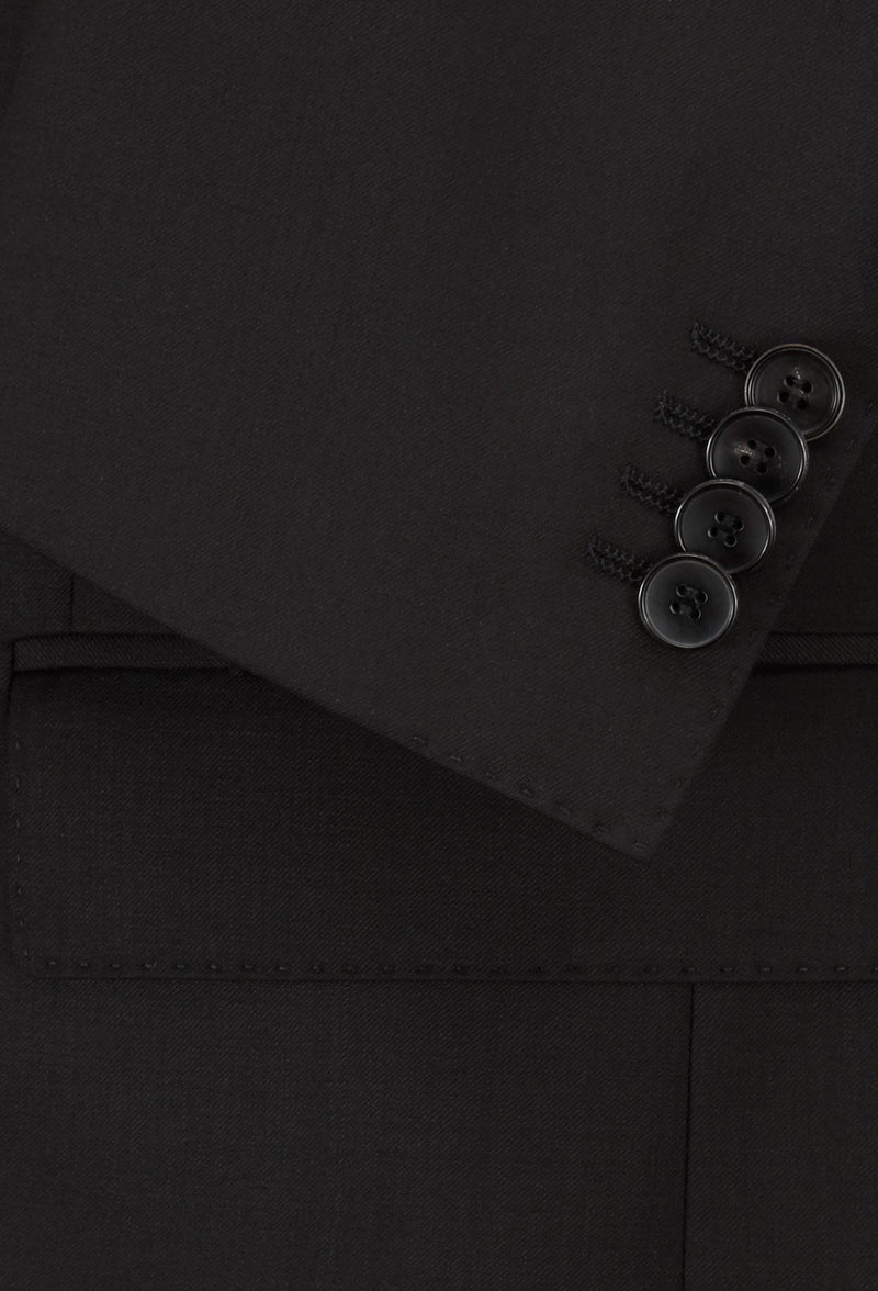 Sleeve button detail of the Hugo Boss slim fit heyes suit in black pure wool HB50318498-001