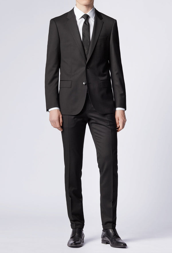 Hugo Boss slim fit heyes suit in black pure wool HB50318498-001 full length view