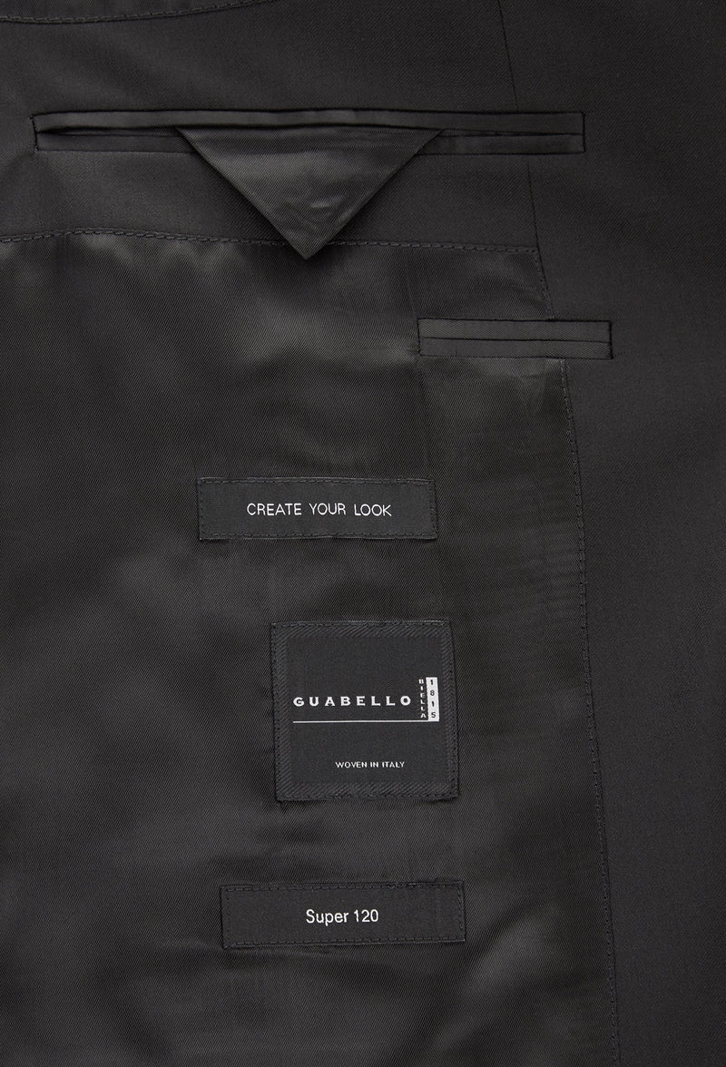 A close up view of the inner pocket details of the Hugo Boss slim fit heyes suit in black pure wool HB50318498-001