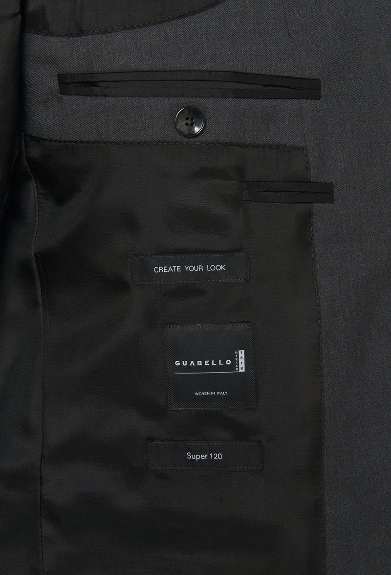 the inner pocket details of the Hugo Boss slim fit heyes suit in dark grey pure wool HB50318498-021