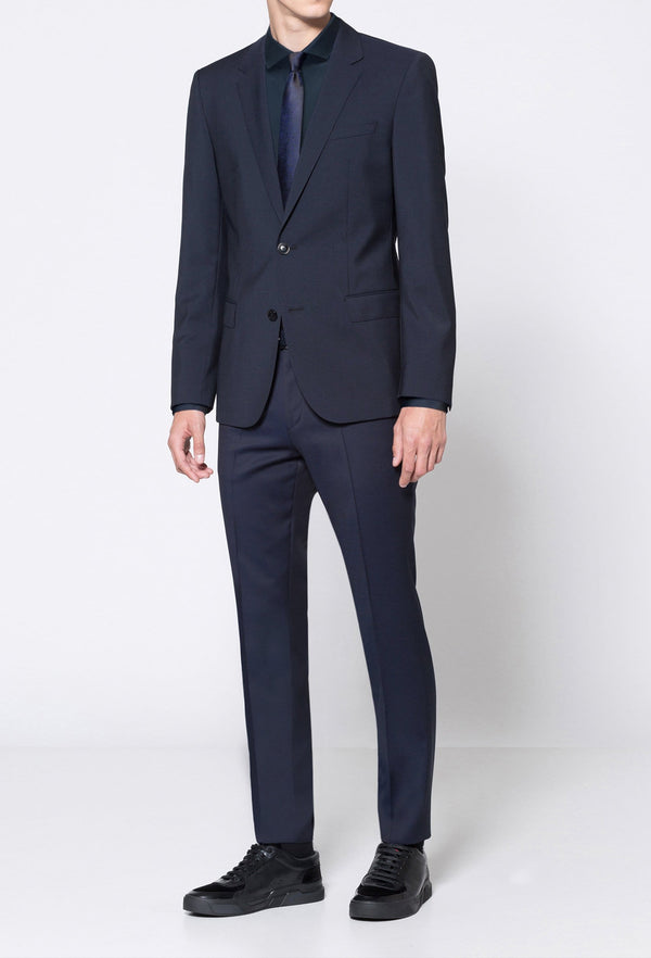 a full length view of the Hugo slim fit henry dinner suit in dark blue pure wool HB50379442-401