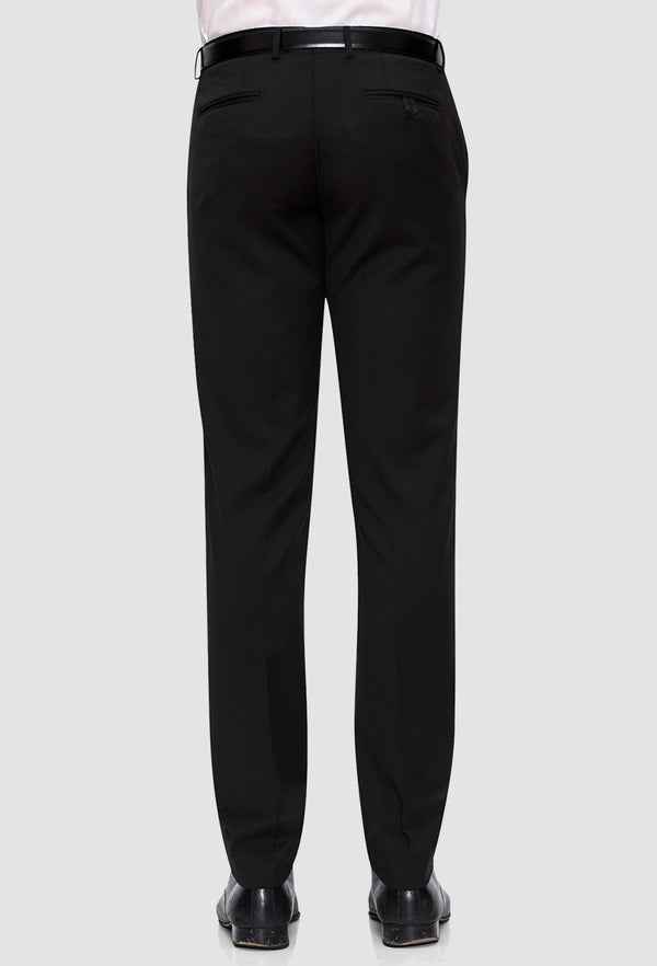 the joe black slim fit razor trouser with a black belt and shoes