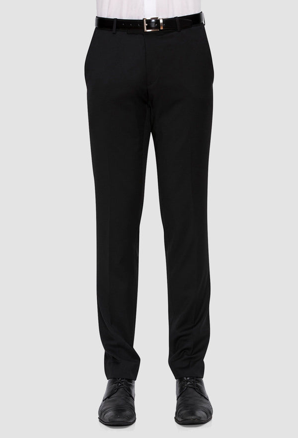 mens suit trouser by joe black - black pure wool razor trouser
