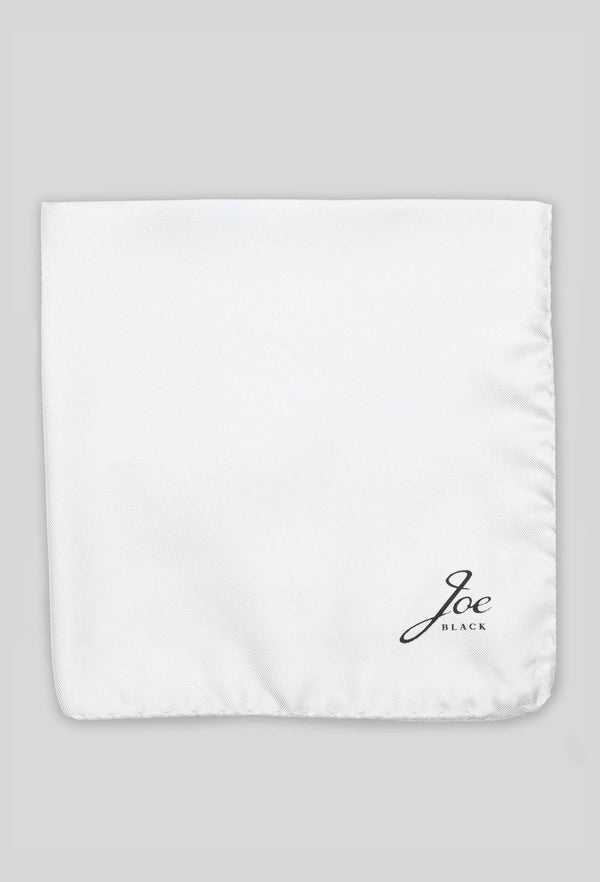 Joe Black classic twill pocket square in ivory silk