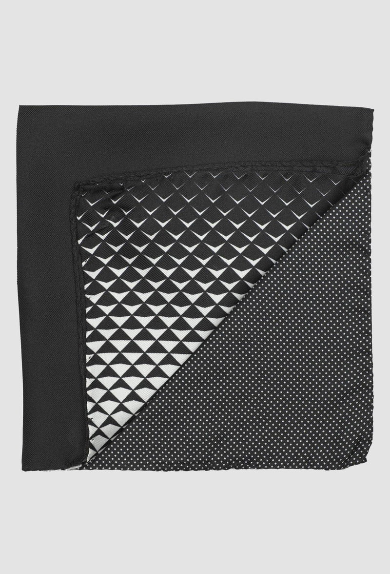 Joe Black four way geometric pocket square in black silk