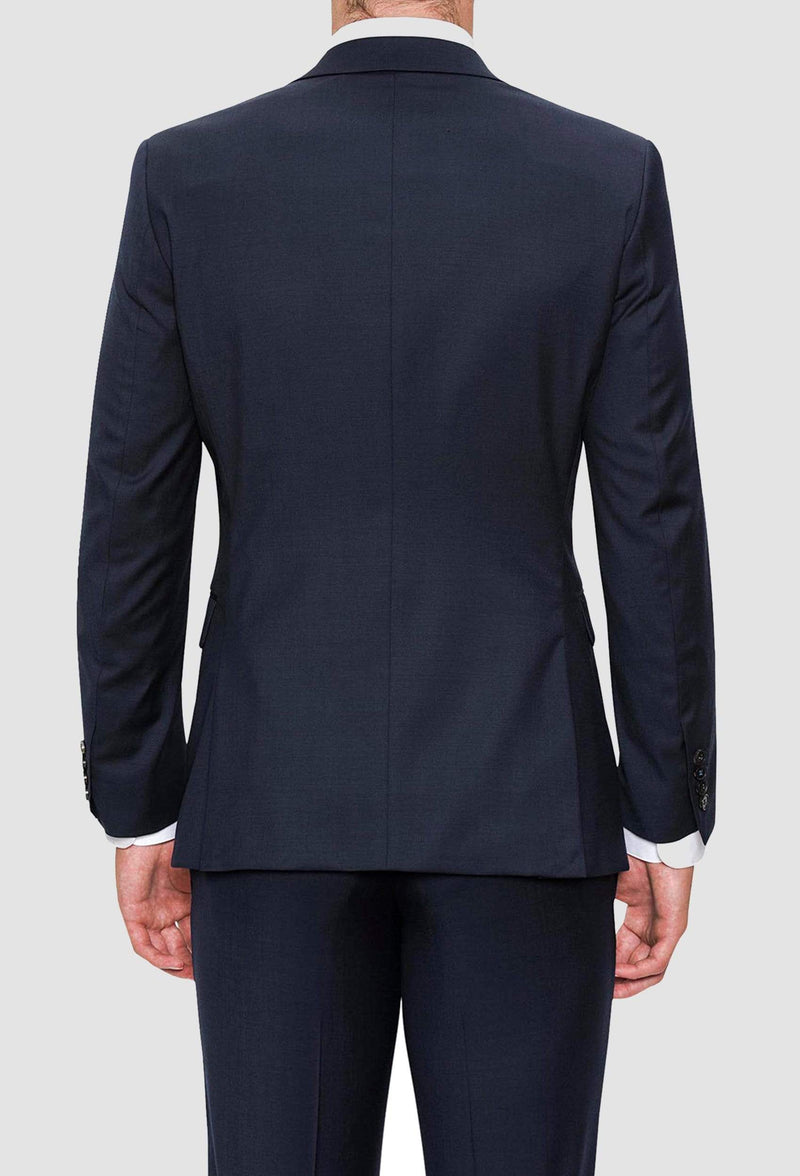 A reverse view of the Joe Black slim fit anchor suit jacket in navy pure wool FJV033 including the side vent details