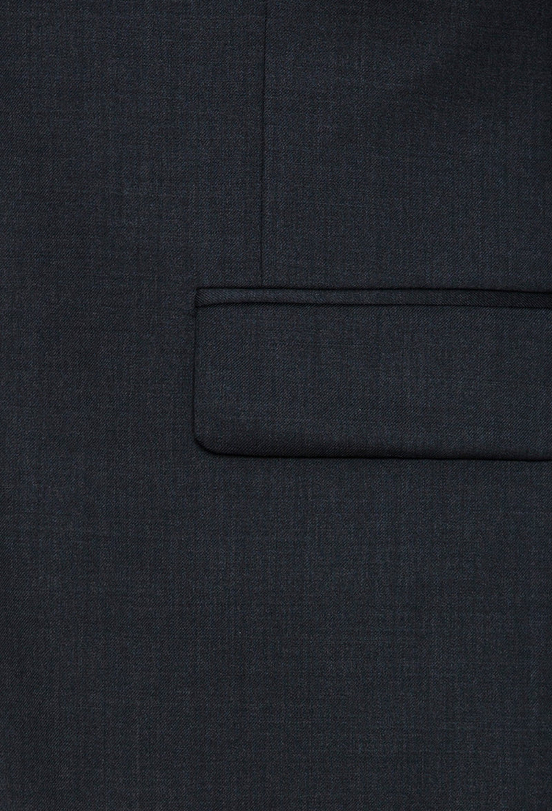 A close up view of the Joe Black slim fit anchor suit jacket flat pockets in charcoal pure wool FCZ027
