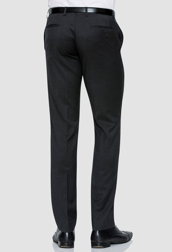 a rear view of the Joe Black slim fit razor trouser in charcoal pure wool