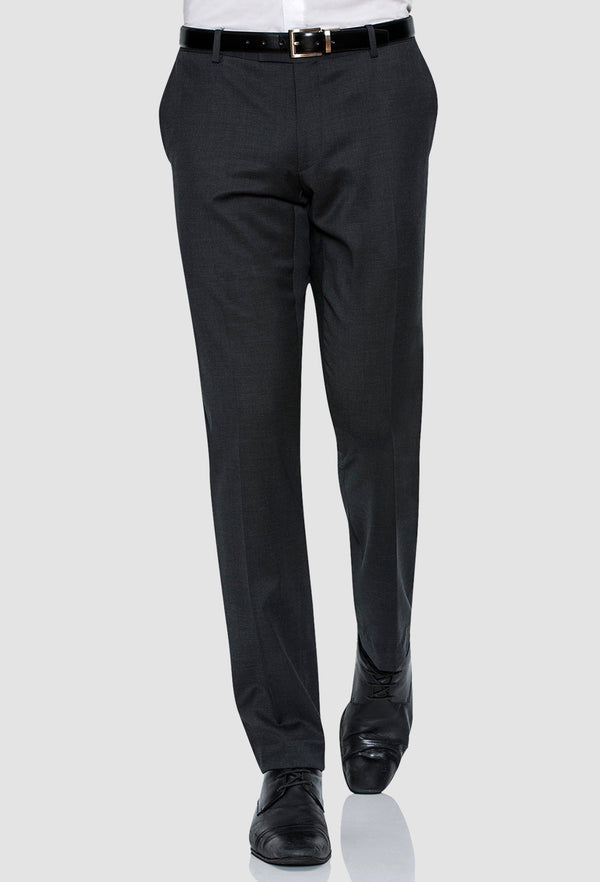 a model wearing the Joe Black slim fit razor trouser in charcoal pure wool