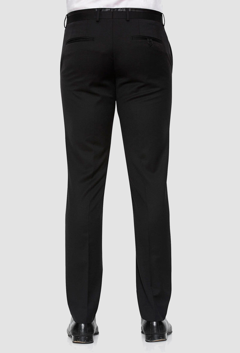 a back view of the Joe Black slim fit fortune evening trouser in black pure wool F6447