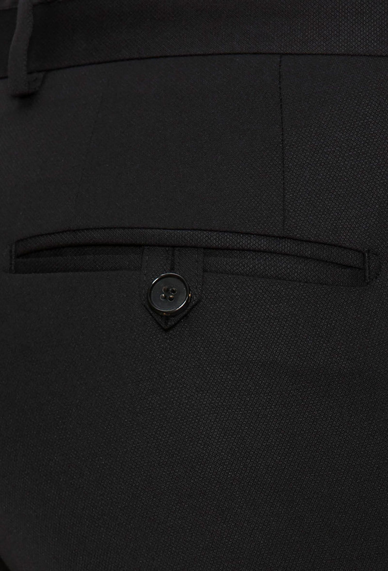 a close up view of back pocket detail on the Joe Black slim fit fortune evening trouser in black pure wool F6447