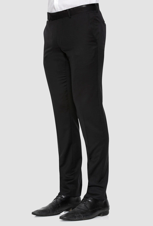 a side view of the Joe Black slim fit fortune evening trouser in black pure wool F6447 including the side entry pocket detail